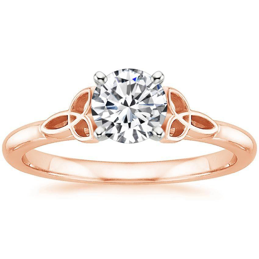 14K Rose Gold Celtic Love Knot Ring, top view