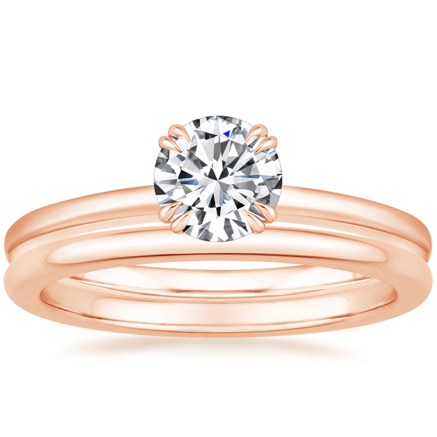 14K Rose Gold Sora Diamond Ring with Petite Comfort Fit Wedding Ring