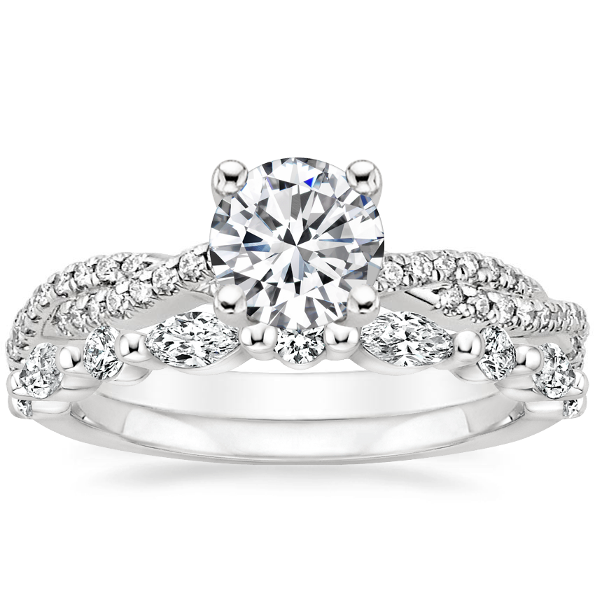 Platinum Petite Luxe Twisted Vine Diamond Ring (1/4 ct. tw.) with Versailles Diamond Ring (3/8 ct. tw.)