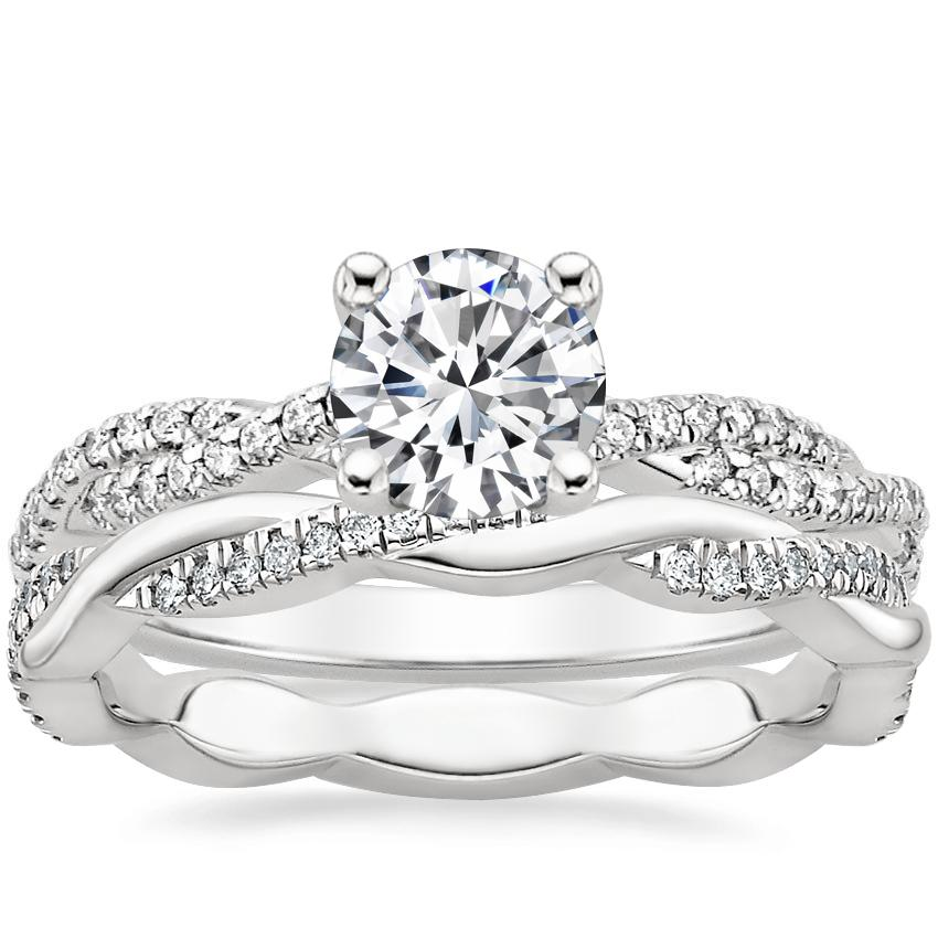 Platinum Petite Luxe Twisted Vine Diamond Ring (1/4 ct. tw.) with Petite Twisted Vine Eternity Diamond Ring (1/5 ct. tw.)