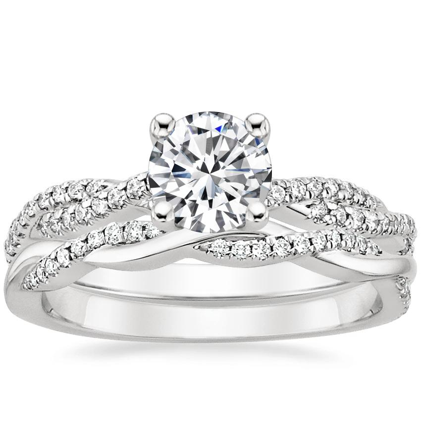 Platinum Petite Luxe Twisted Vine Diamond Ring (1/4 ct. tw.) with Petite Twisted Vine Diamond Ring (1/8 ct. tw.)