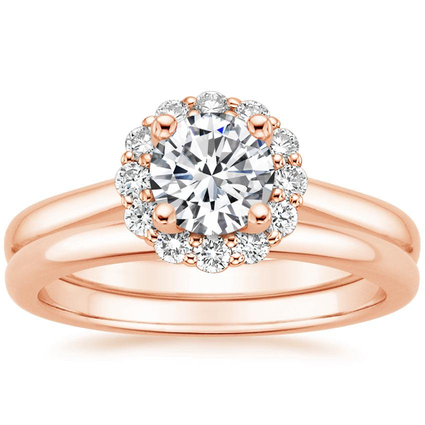 14K Rose Gold Lotus Flower Diamond Bridal Set (1/4 ct. tw.)