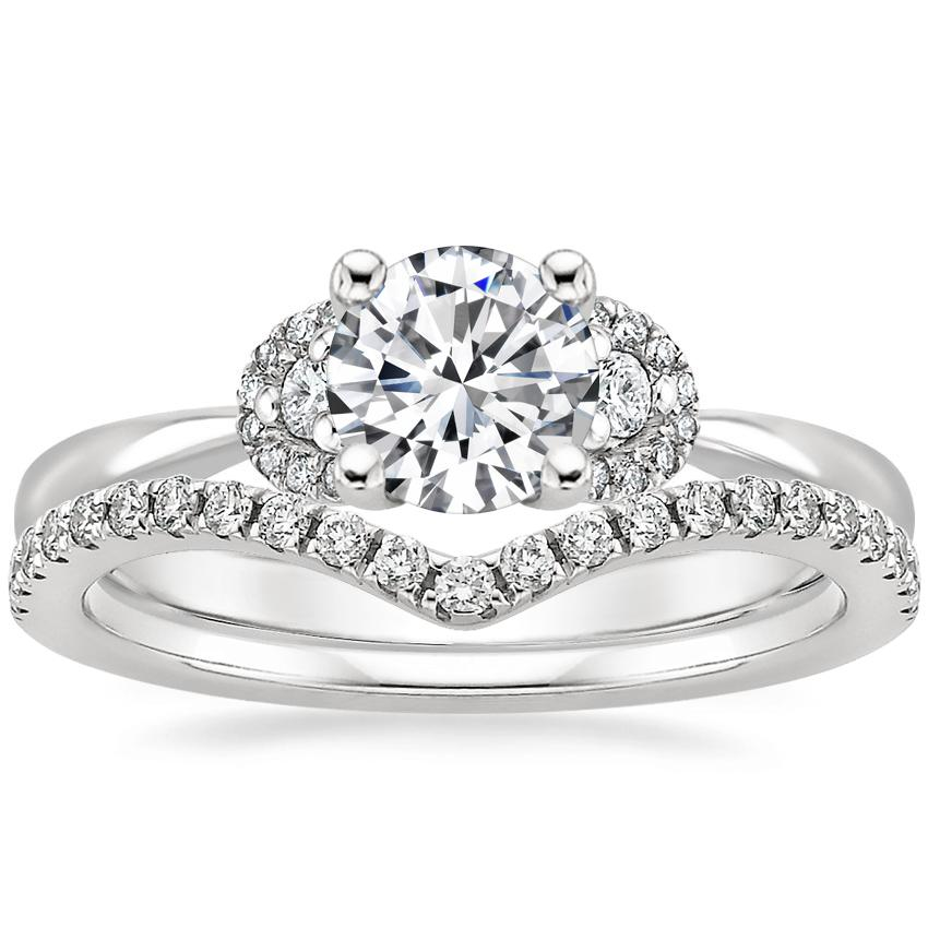 18K White Gold Lorelai Diamond Ring (1/3 ct. tw.) with Flair Diamond Ring (1/6 ct. tw.)