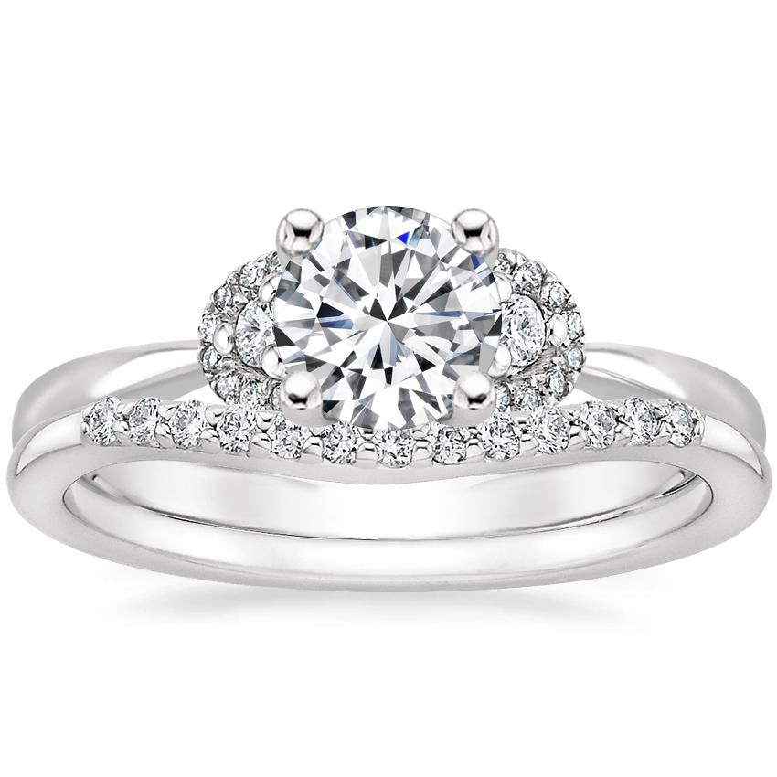 18K White Gold Lorelai Diamond Ring (1/3 ct. tw.) with Petite Curved Diamond Ring (1/10 ct. tw.)