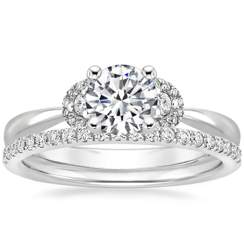 18K White Gold Lorelai Diamond Ring (1/5 ct. tw.) with Ballad Diamond Ring (1/6 ct. tw.)