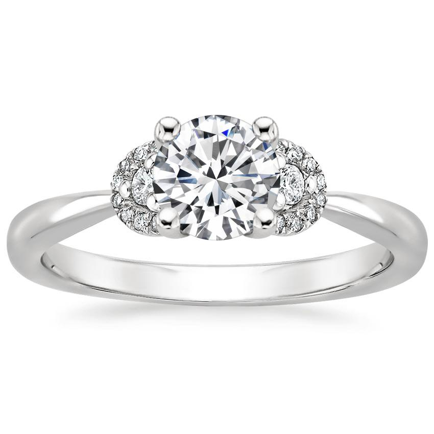 Round Three Stone Halo Diamond Ring