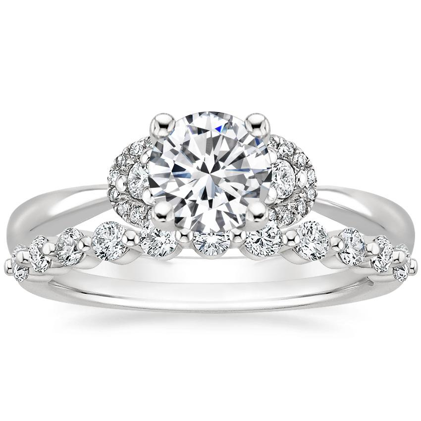 Platinum Lorelai Diamond Ring (1/3 ct. tw.) with Marseille Diamond Ring (1/3 ct. tw.)