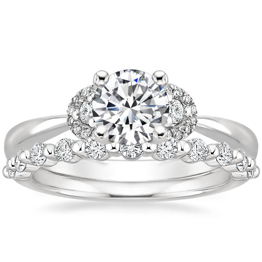 18K White Gold Lorelai Diamond Ring (1/3 ct. tw.) with Marseille Diamond Ring (1/3 ct. tw.)