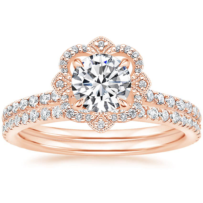 14K Rose Gold Reina Diamond Ring with Luxe Ballad Diamond Ring (1/4 ct. tw.)