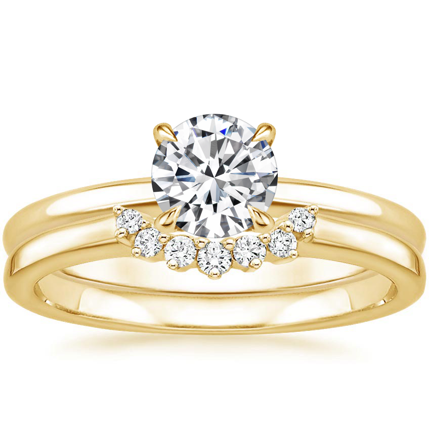 18K Yellow Gold Elodie Ring with Crescent Diamond Ring