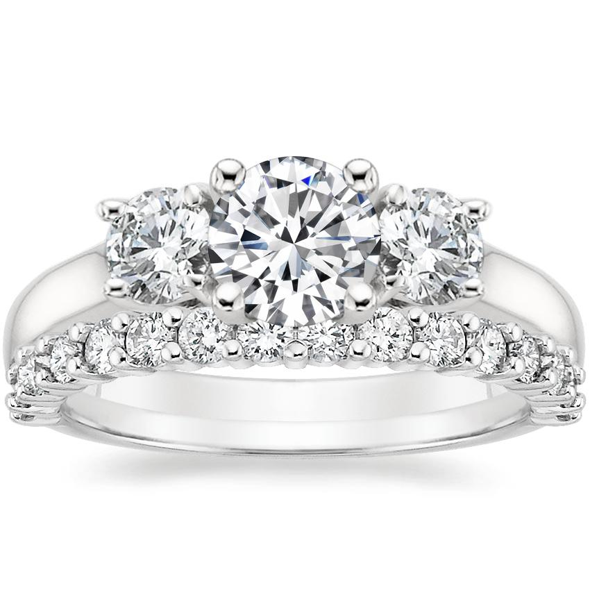 Platinum Three Stone Trellis Diamond Ring with Shared Prong Diamond Ring (2/5 ct. tw.)