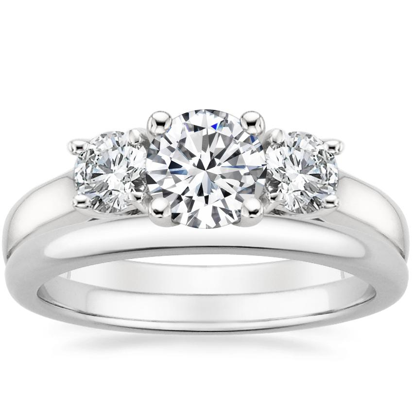 18K White Gold Three Stone Trellis Diamond Ring with 2mm Comfort Fit Wedding Ring