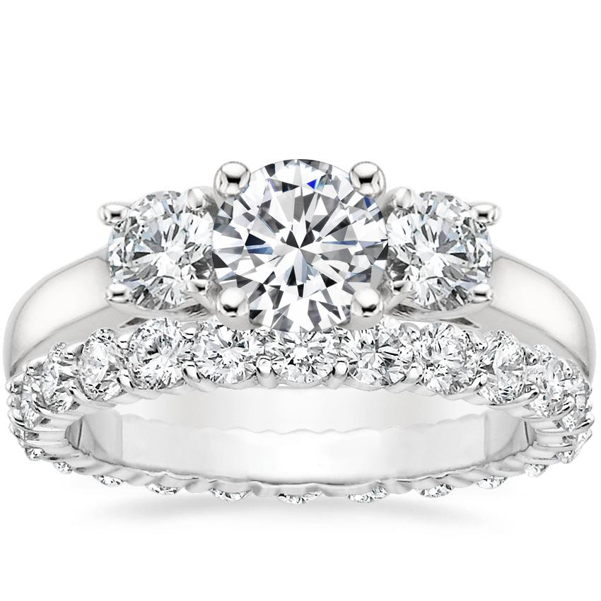 Platinum Three Stone Diamond Trellis Ring with Luxe Shared Prong Eternity Diamond Ring (1 1/3 ct. tw.)