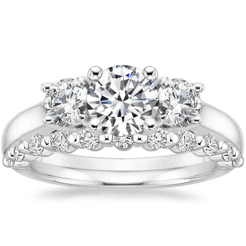 Platinum Three Stone Trellis Diamond Ring (1/2 ct. tw.) with Marseille Diamond Ring (1/3 ct. tw.)