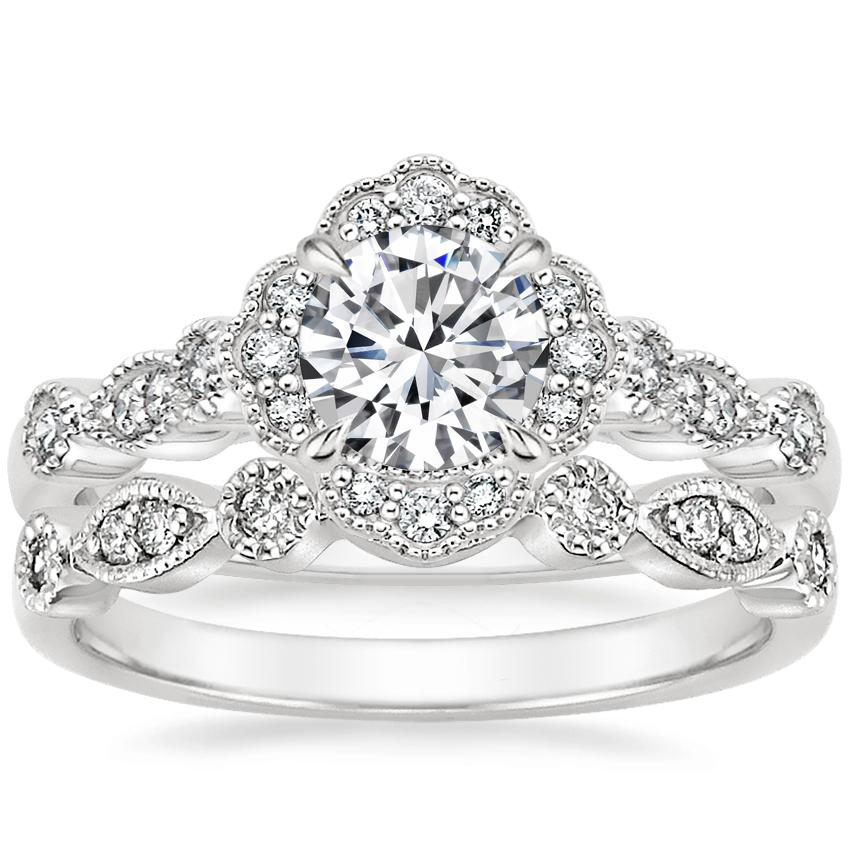 Platinum Tiara Halo Diamond Ring with Tiara Diamond Ring (1/10 ct. tw.)