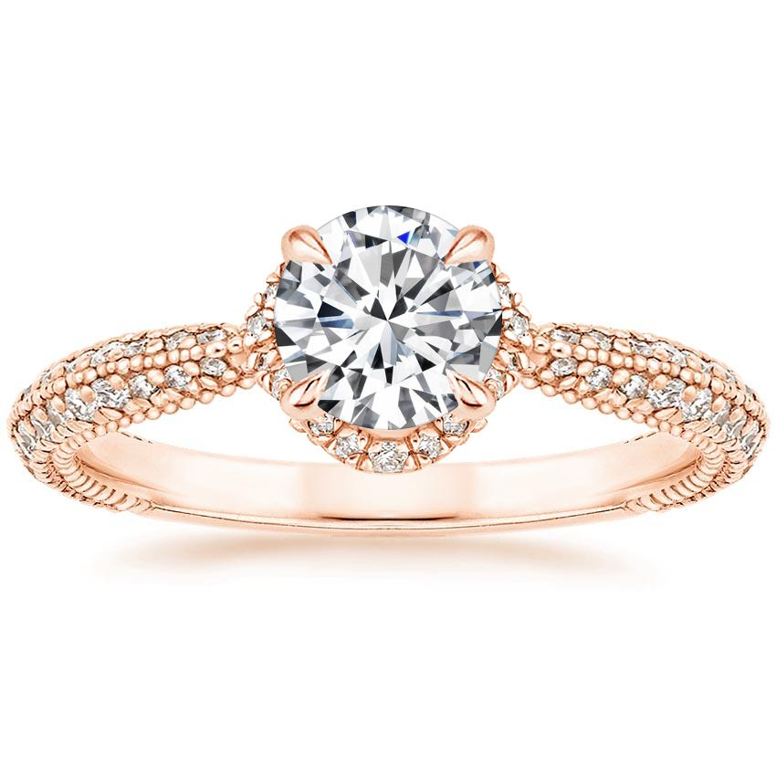 Round Knife Edge Pavé Diamond Ring