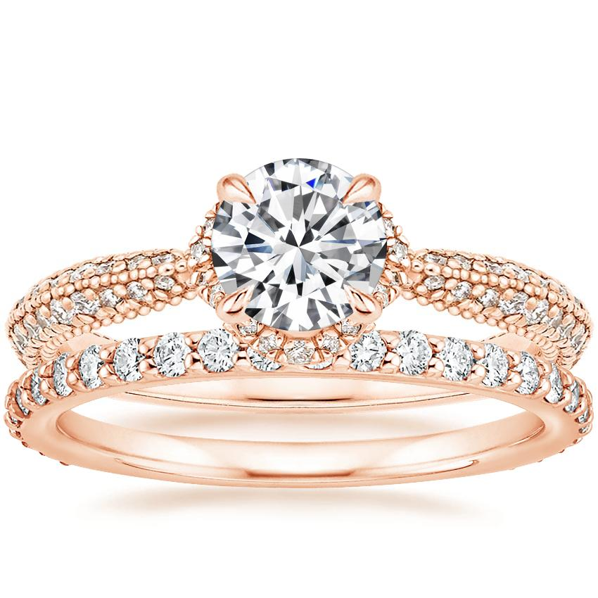 14K Rose Gold Aster Diamond Ring (1/3 ct. tw.) with Luxe Petite Shared Prong Diamond Ring (3/8 ct. tw.)