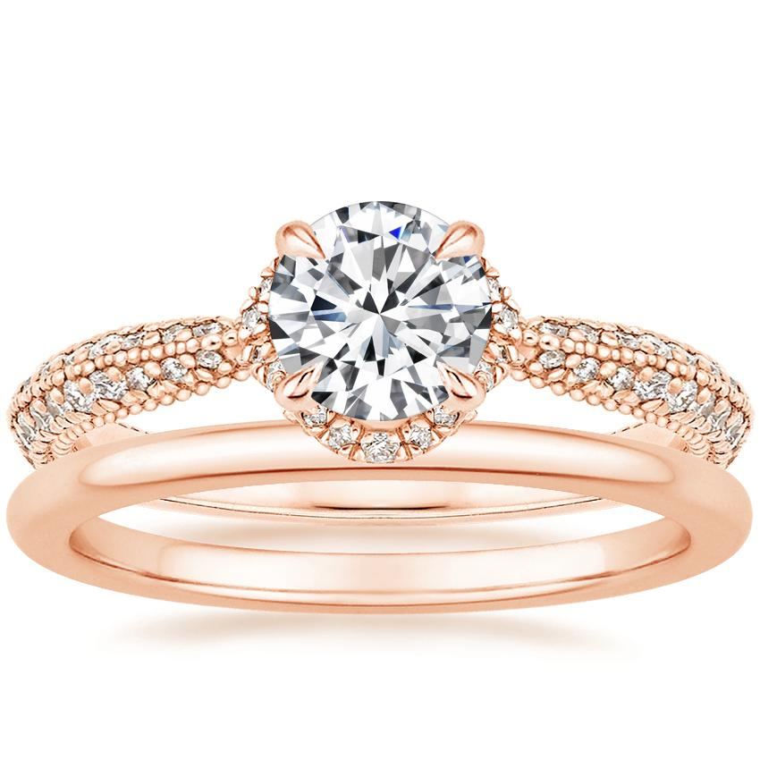 14K Rose Gold Aster Diamond Ring (1/3 ct. tw.) with Petite Comfort Fit Wedding Ring