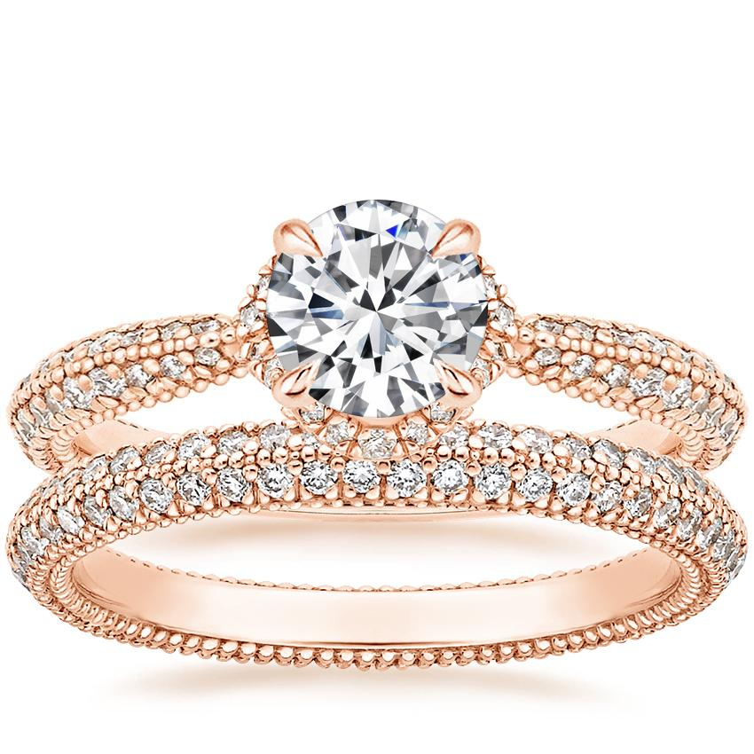 14K Rose Gold Aster Diamond Ring (1/3 ct. tw.) with Sadie Eternity Diamond Ring (1/2 ct. tw.)