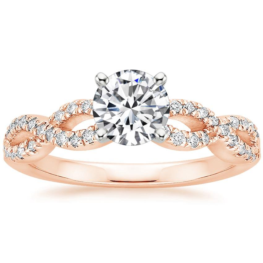 Round 14K Rose Gold Infinity Diamond Ring