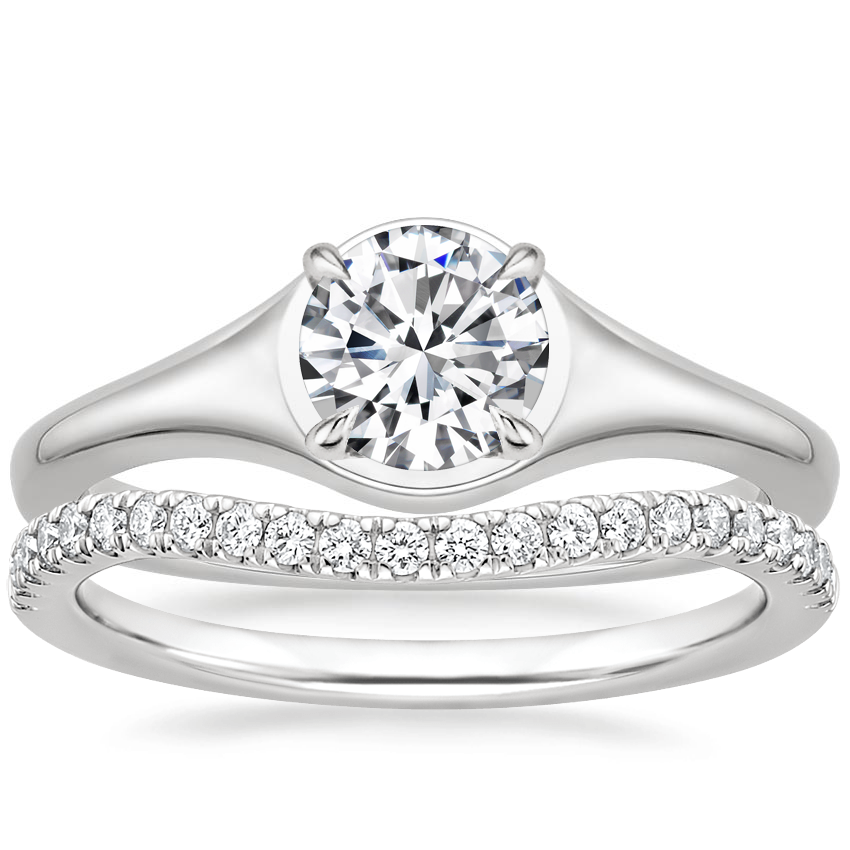 Platinum Insignia Ring with Curved Ballad Diamond Ring (1/6 ct. tw.)