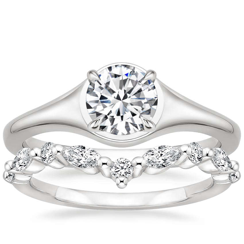 18K White Gold Insignia Ring with Avery Diamond Ring