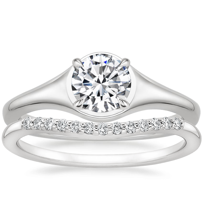18K White Gold Insignia Ring with Petite Curved Diamond Ring (1/10 ct. tw.)