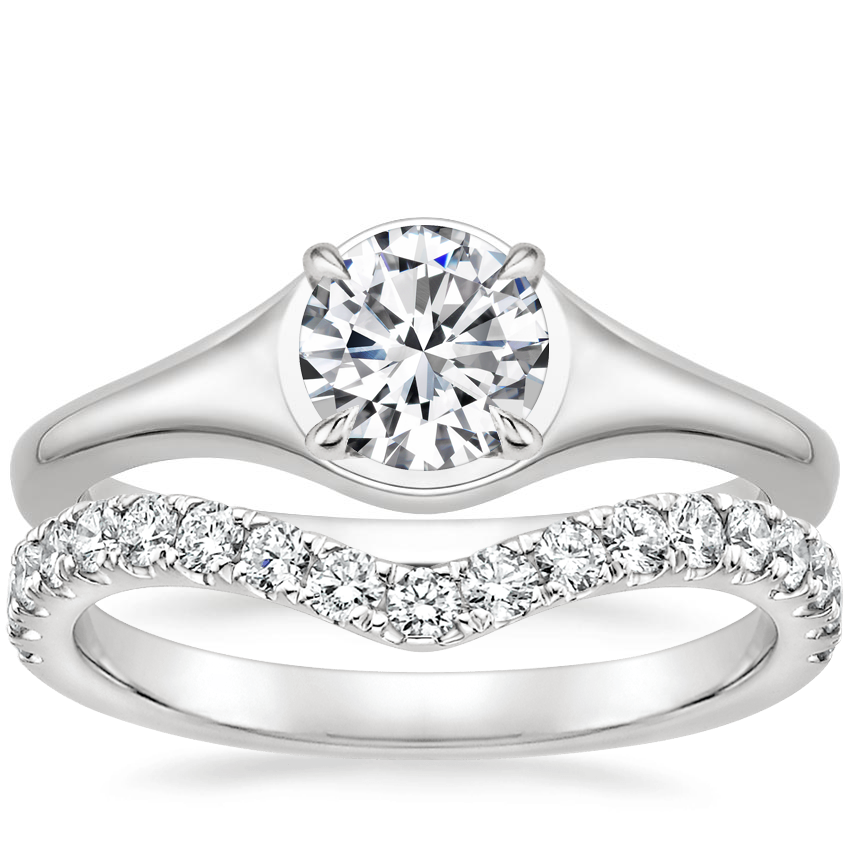 18K White Gold Insignia Ring with Luxe Flair Diamond Ring (1/3 ct. tw.)