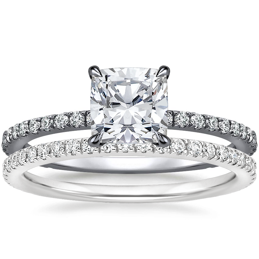 18K White Gold Black Rhodium Demi Diamond Ring (1/3 ct. tw.) with Luxe Ballad Diamond Ring (1/4 ct. tw.)