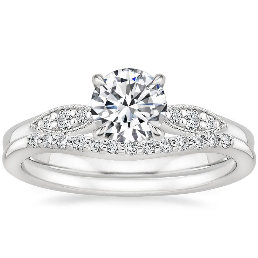 Platinum Isadora Diamond Ring with Petite Curved Diamond Ring