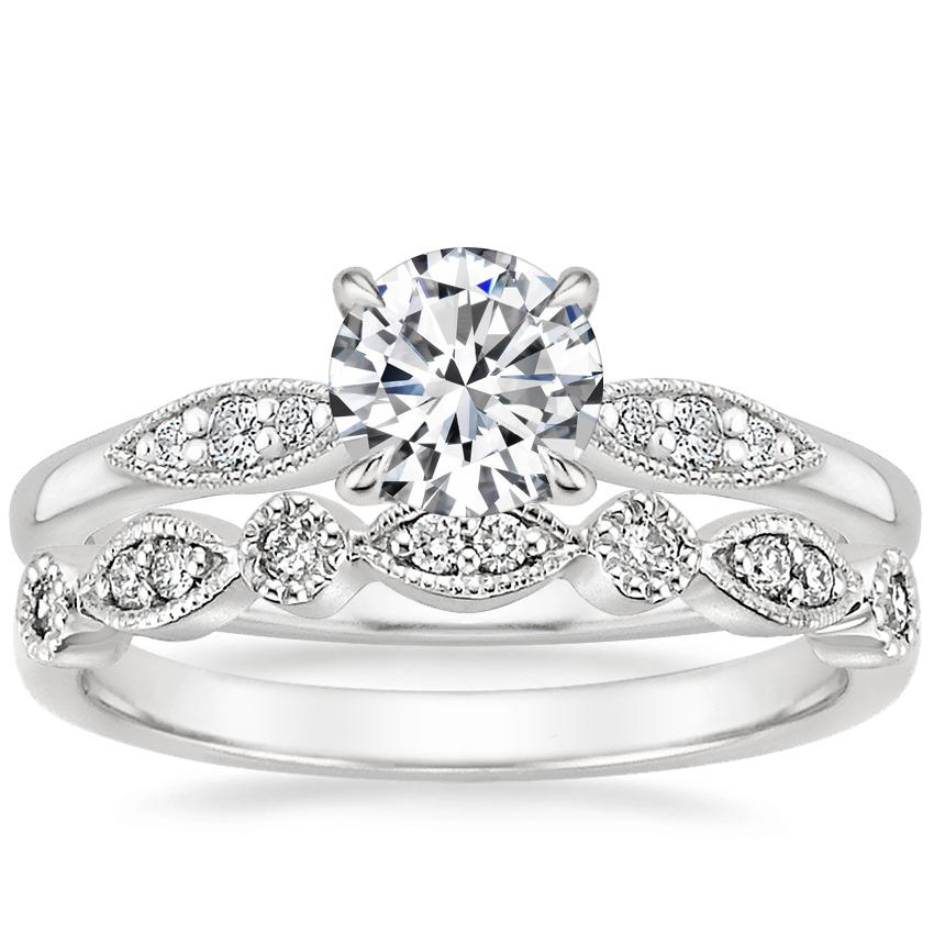 18K White Gold Isadora Diamond Ring with Tiara Diamond Ring (1/10 ct. tw.)