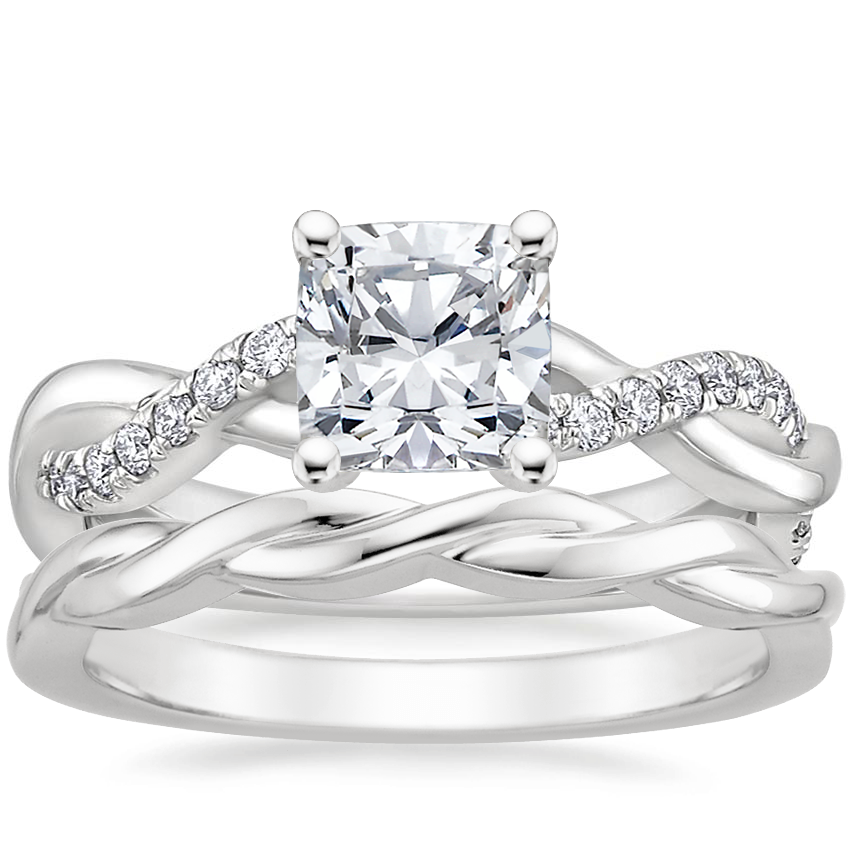 18K White Gold Braided Vine Diamond Ring (1/4 ct. tw.) with Twisted Vine Ring