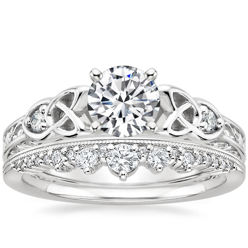 18K White Gold Aberdeen Diamond Ring with Crown Diamond Ring