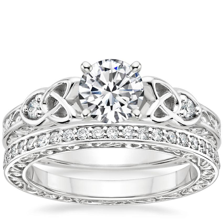 18K White Gold Aberdeen Diamond Ring with Delicate Antique Scroll Eternity Diamond Ring (2/5 ct. tw.)