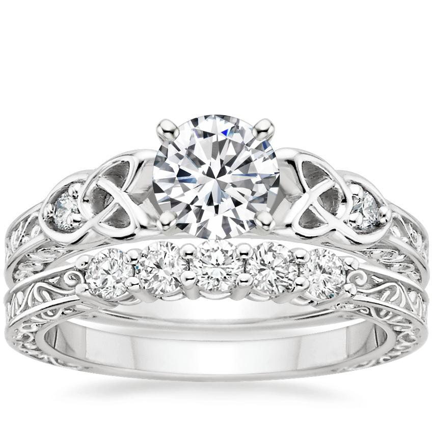 18K White Gold Aberdeen Diamond Ring with Delicate Antique Scroll Five Stone Diamond Ring (1/4 ct. tw.)