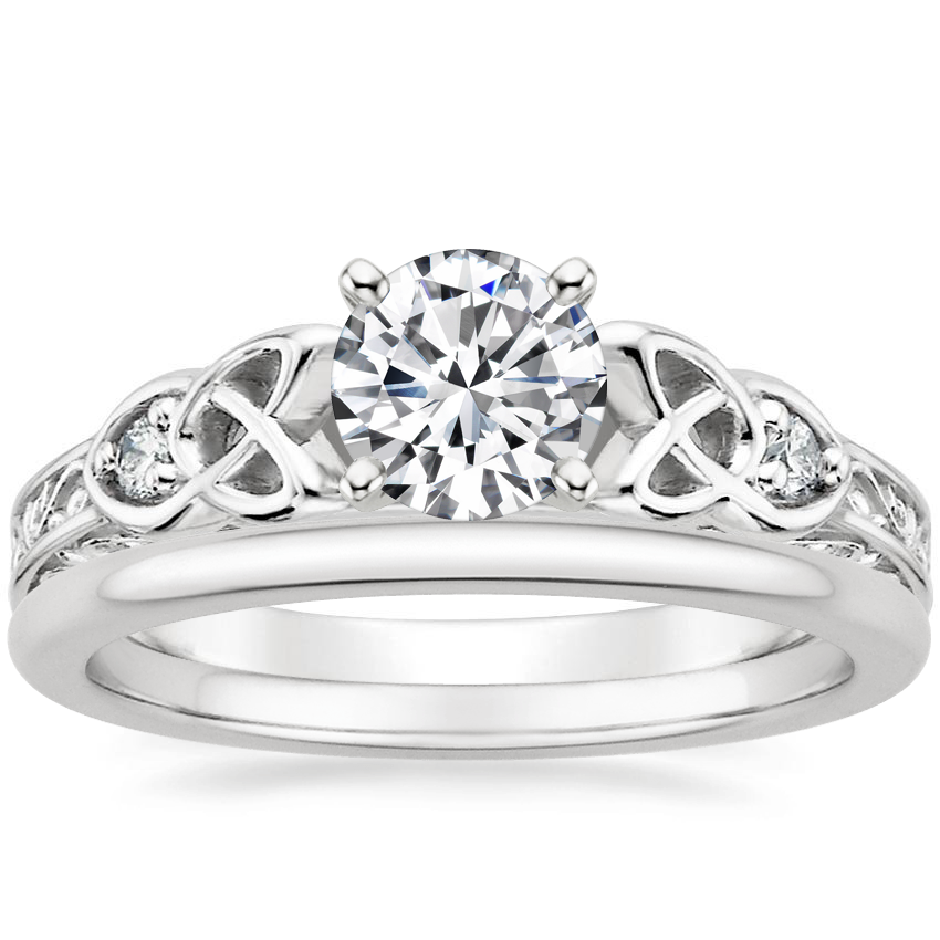 Platinum Aberdeen Diamond Ring with Petite Comfort Fit Wedding Ring