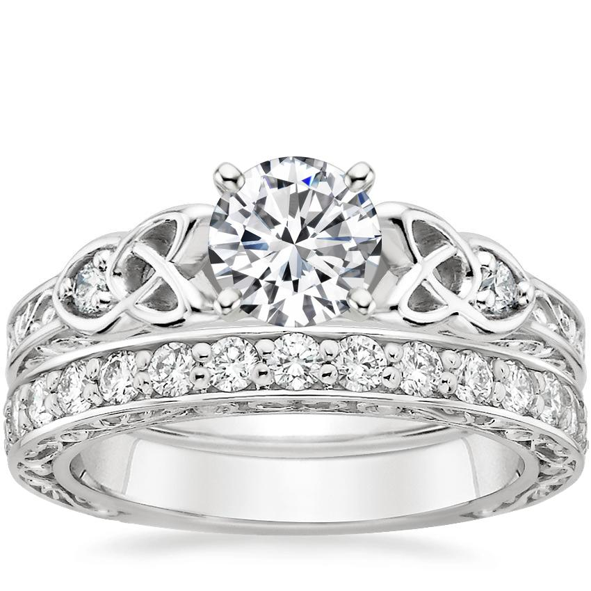 18K White Gold Aberdeen Diamond Ring with Antique Scroll Diamond Ring (2/5 ct. tw.)