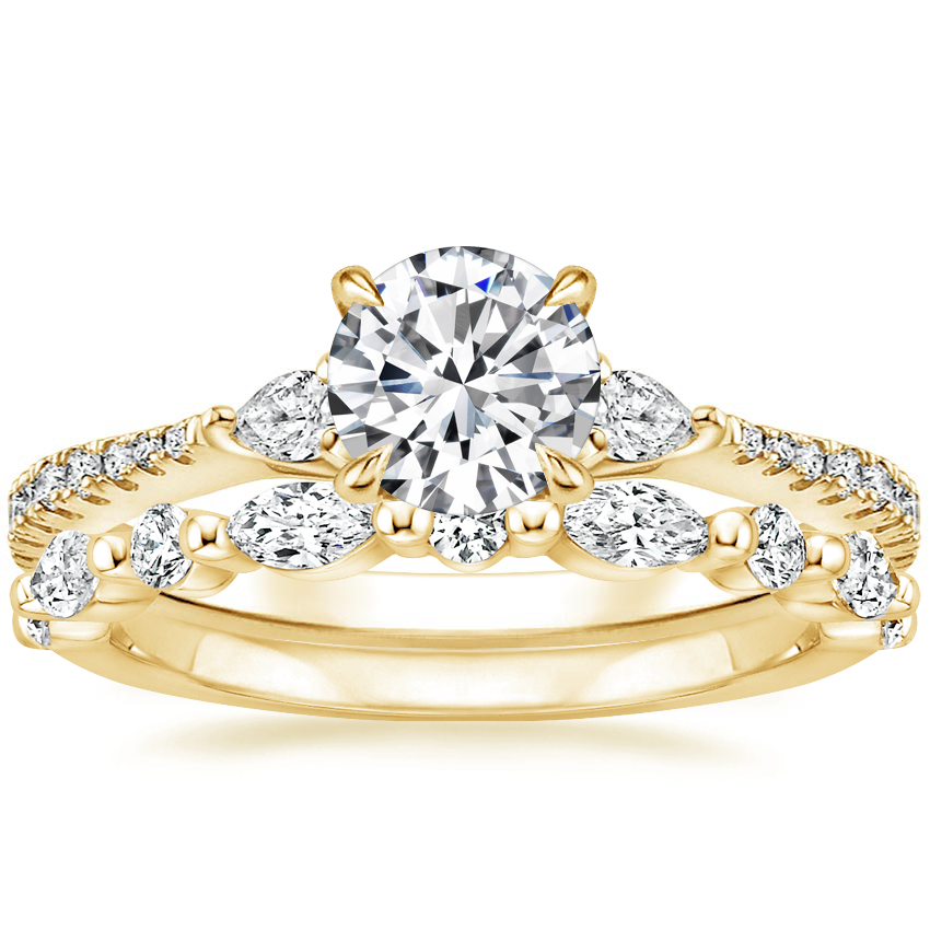 18K Yellow Gold Luxe Aria Diamond Ring with Versailles Diamond Ring (3/8 ct. tw.)