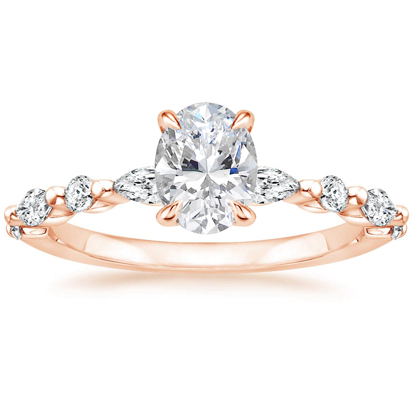 Oval 14K Rose Gold Versailles Diamond Ring (1/3 ct. tw.)