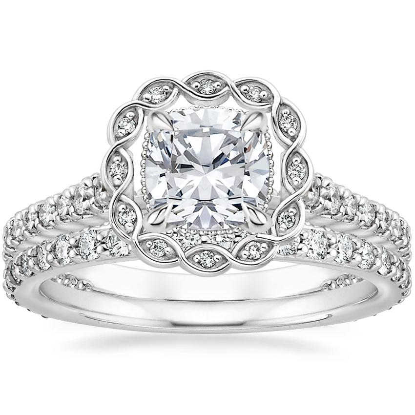 18K White Gold Magnolia Halo Diamond Ring (1/3 ct. tw.) with Luxe Petite Shared Prong Diamond Ring (3/8 ct. tw.)