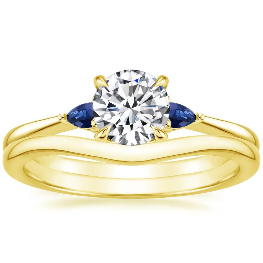 18K Yellow Gold Aria Diamond Ring with Sapphire Accents with Petite Curved Wedding Ring