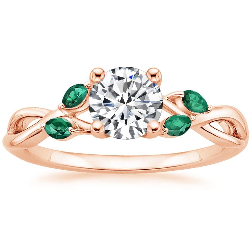Round 14K Rose Gold Willow Ring With Lab Emerald Accents