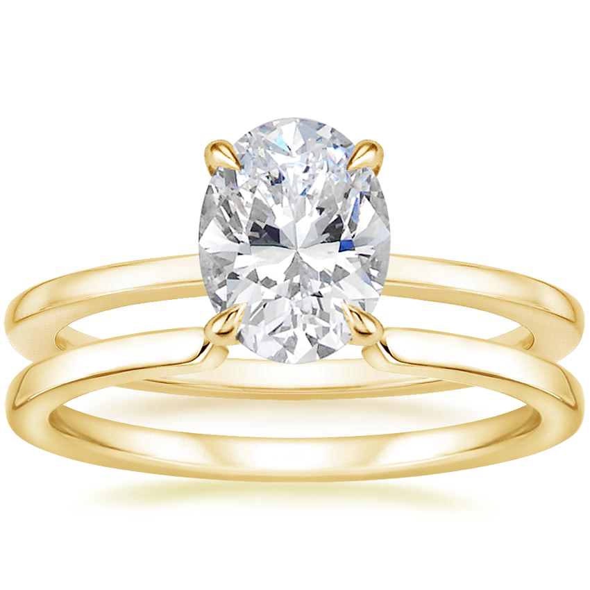 18K Yellow Gold Lumiere Diamond Ring with Liv Wedding Ring