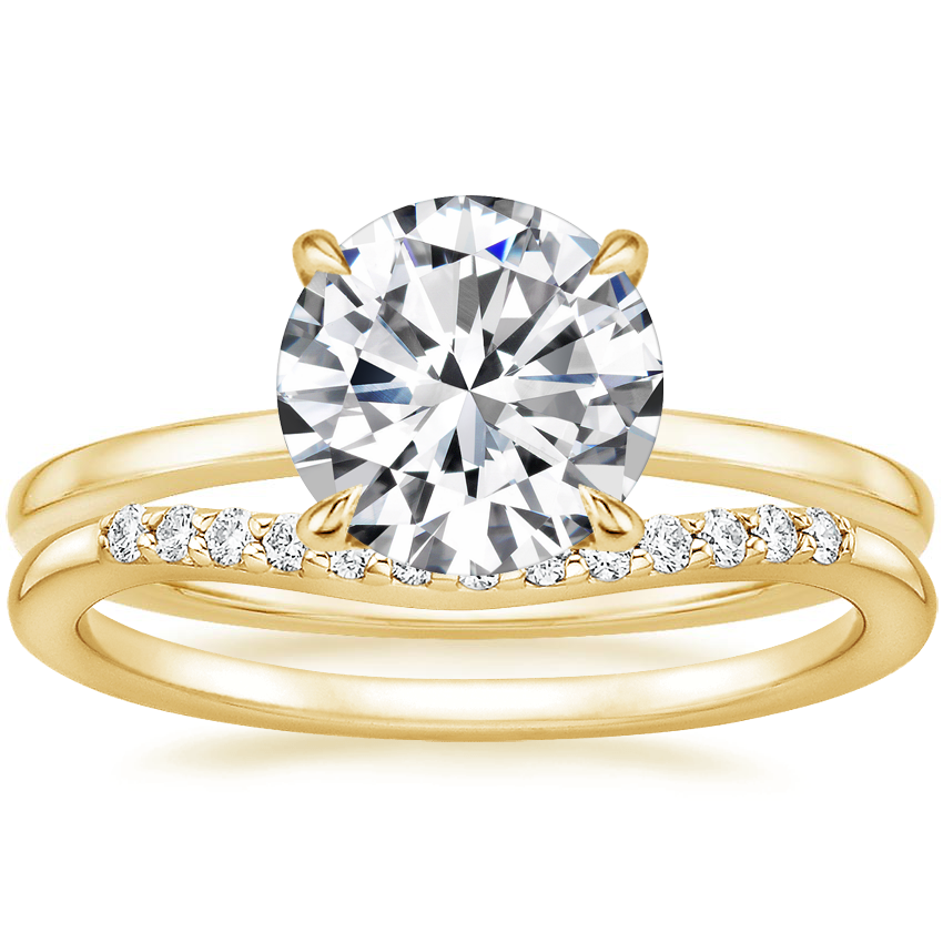 18K Yellow Gold Lumiere Diamond Ring with Petite Curved Diamond Ring
