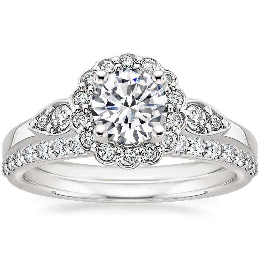 18K White Gold Camillia Diamond Ring with Petite Shared Prong Diamond Ring (1/4 ct. tw.)