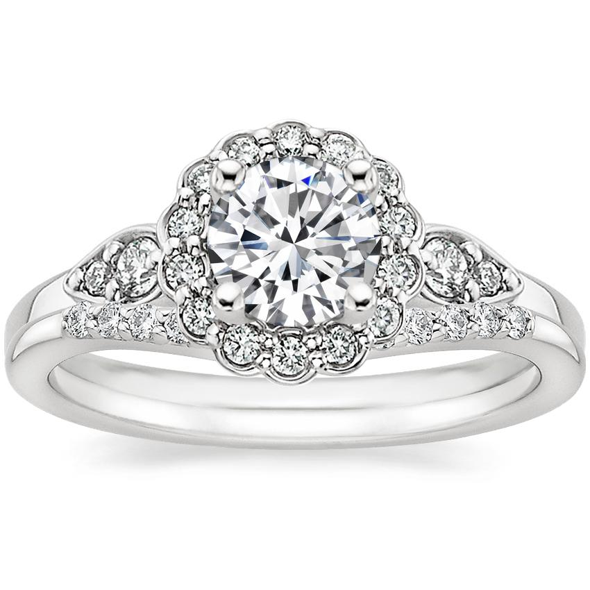 18K White Gold Camillia Diamond Ring (1/3 ct. tw.) with Petite Curved Diamond Ring