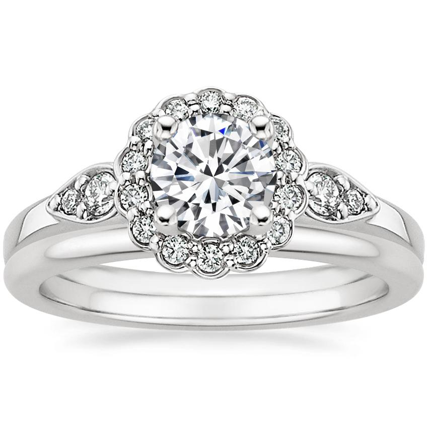 18K White Gold Camillia Diamond Ring with Petite Comfort Fit Wedding Ring