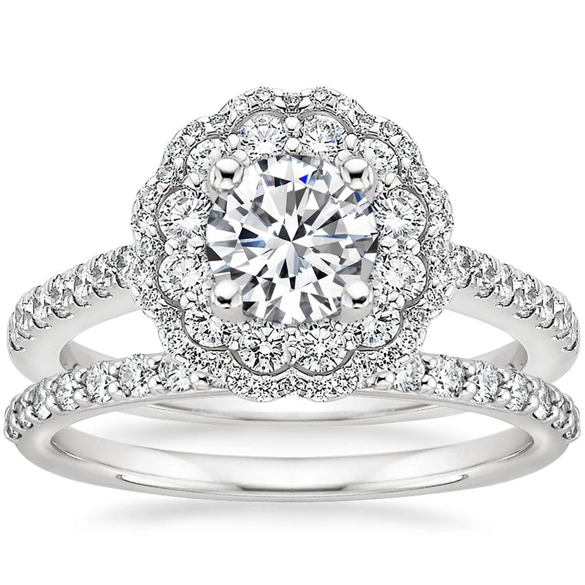 18K White Gold Rosa Diamond Ring with Petite Shared Prong Diamond Ring (1/4 ct. tw.)