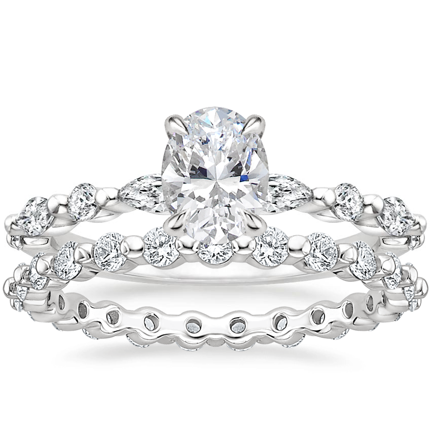 18K White Gold Versailles Diamond Ring (1/3 ct. tw.) with Marseille Eternity Diamond Ring (2/3 ct. tw.)