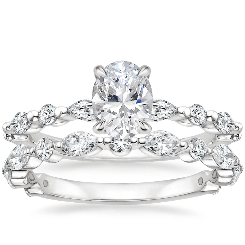 Platinum Versailles Diamond Ring (1/3 ct. tw.) with Luxe Versailles Diamond Ring (1/2 ct. tw.)